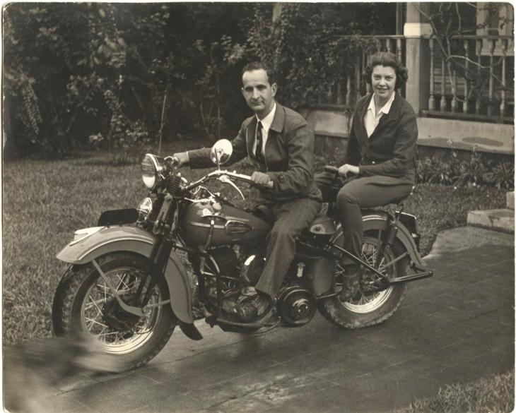 Henrietta Don Pepe on Motorcycle