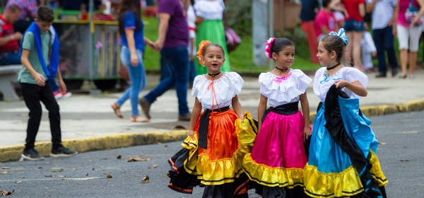 Girls in traditional dress in Costa Rica